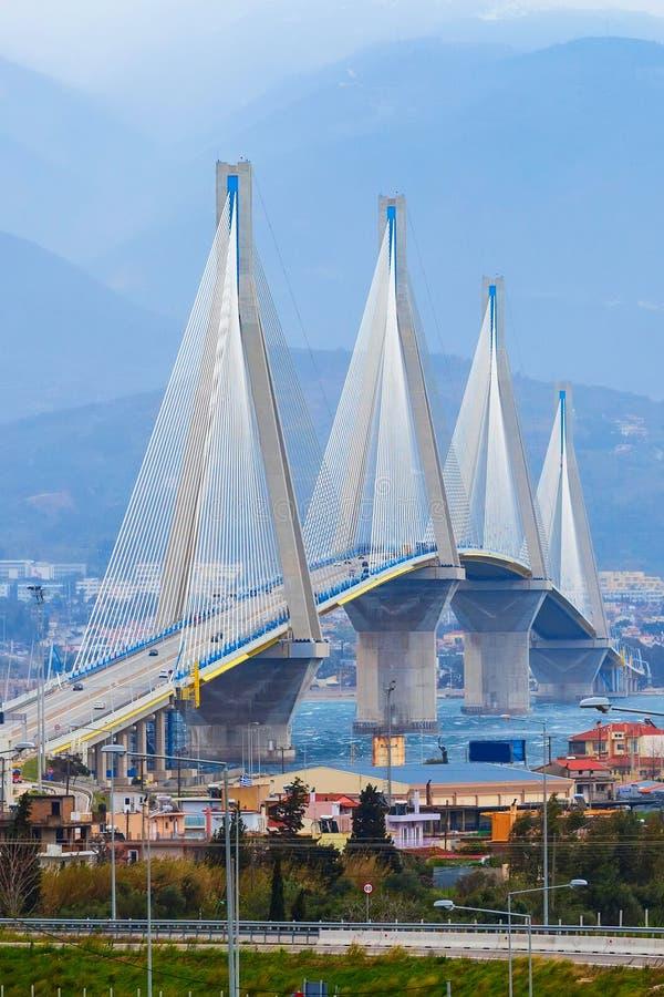 Rio-Antirrio Bridge, Peloponnese, Greece. Rio-Antirrio or Charilaos Trikoupis Bridge, between Peloponnese and mainland Greece royalty free stock photography