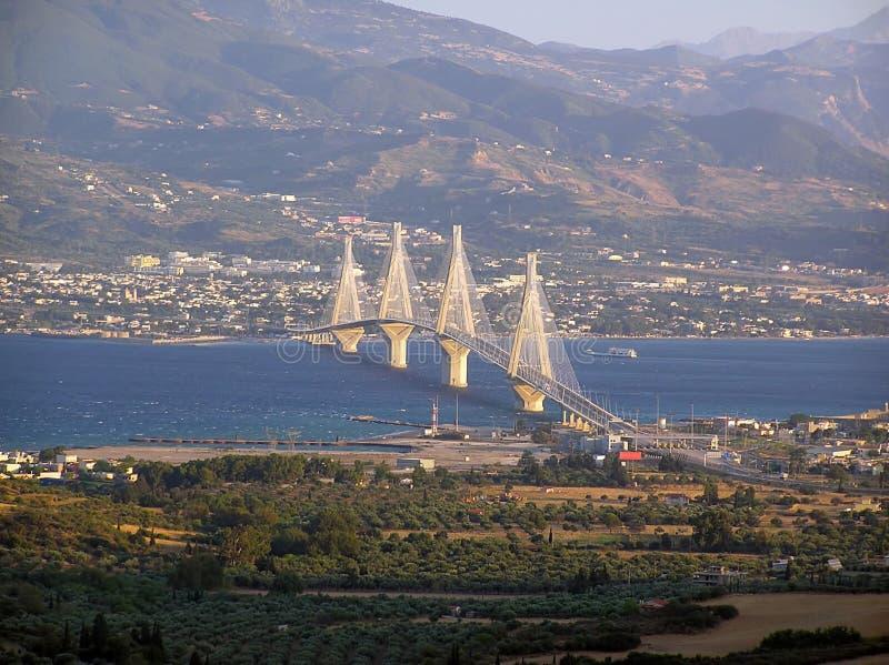 The Rio-Antirrio suspension bridge 1. The suspension bridge of Rio-Antirrio in Greece in daylight stock photo