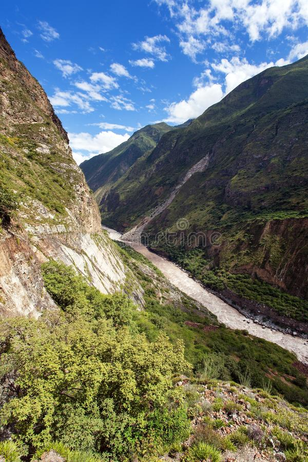 Rio Apurimac, Apurimac is upper part of Amazon river. Rio Apurimac, Apurimac is upper part of the longist  and the largest Amazon river, view from Choquequirao royalty free stock images