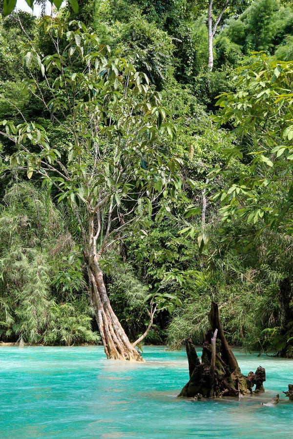 Rio azul em Laos fotos de stock royalty free