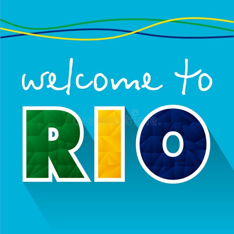 Rio bem-vindo 2016 - bandeiras Fundo 2016, ícone do Rio 2016 do Rio ilustração royalty free