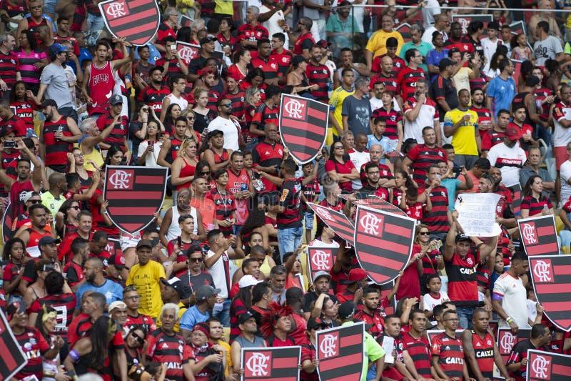 Rio Brazylia, Listopad, - 15, 2018: Fan w dopasowaniu między Flamengo i Santos Brazylijskim mistrzostwem w Maracana stadium zdjęcia royalty free