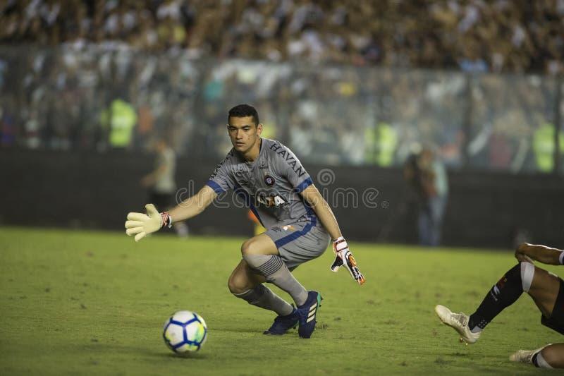 Rio Brazylia, Listopad, - 14, 2018: Santos bramkowy pastuch w dopasowaniu między Vasco i CC$PR Brazylijskim mistrzostwem w Sao zdjęcia royalty free
