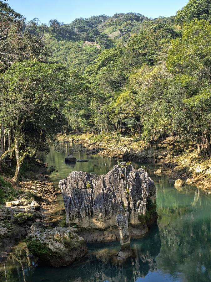 Rio Cahabon River, forming numerous bays and cascades, Guatemala royalty free stock photo