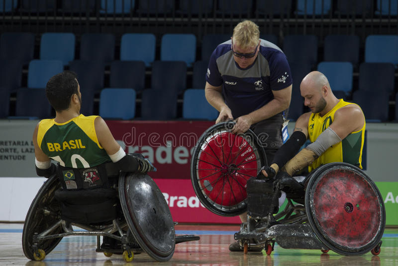 Rio 2016 - campeonato internacional do rugby da cadeira de rodas imagens de stock