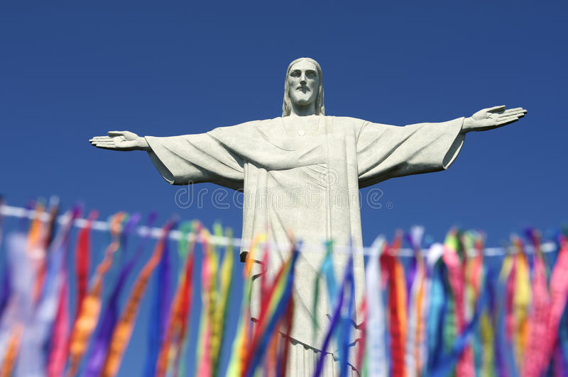Rio Carnival Celebration at Statue of Corcovado royalty free stock photography