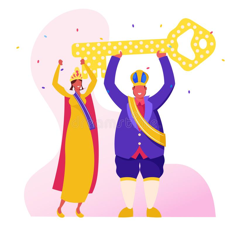 Rio Carnival King Festive Royal Dressing und Crown Holding Huge Golden Key über Kopf, brasilianische Girls Tänzer vektor abbildung