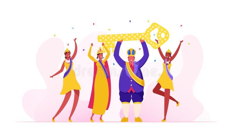 Rio Carnival King Festive Royal Dressing und Crown Holding Huge Golden Key über Kopf, brasilianische Girls Tänzer stock abbildung