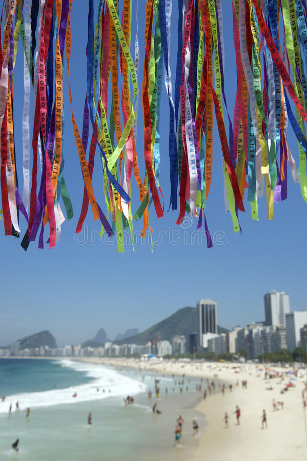Rio Carnival Wish Ribbons Christ Redeemer Corcovado royalty free stock photo