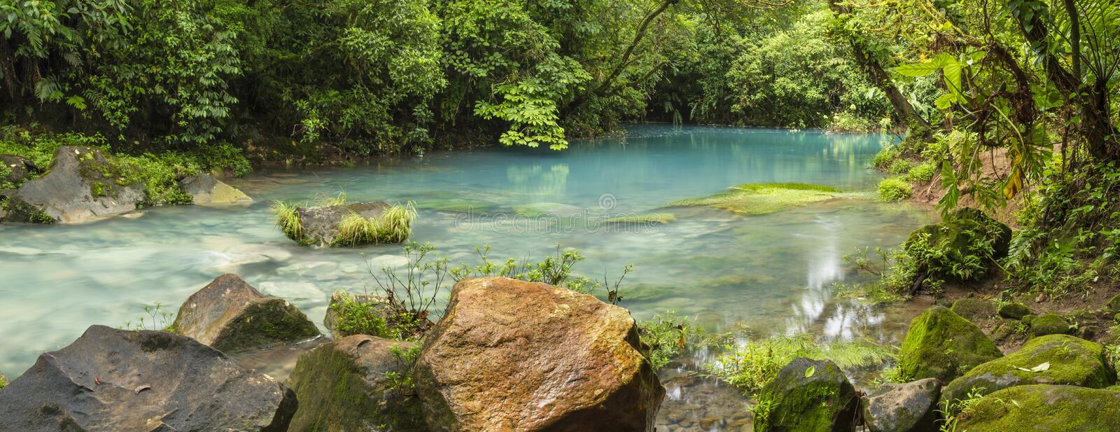 Rio Celeste Blue Lagoon Panorama photos stock
