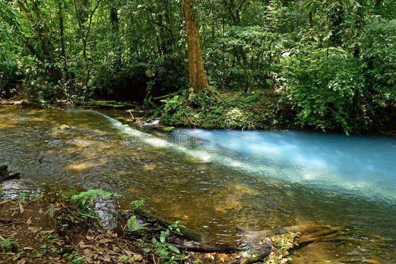 Rio Celeste - creación del río azul imagen de archivo
