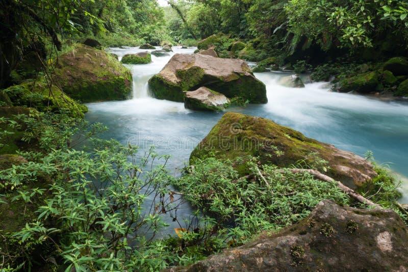 Rio Celeste-rivier dichtbij Bijagua, Costa Rica stock afbeelding