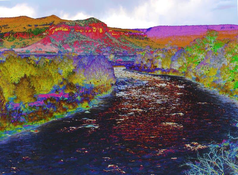 Rio Chama in Abiquiu, New Mexico stock illustratie