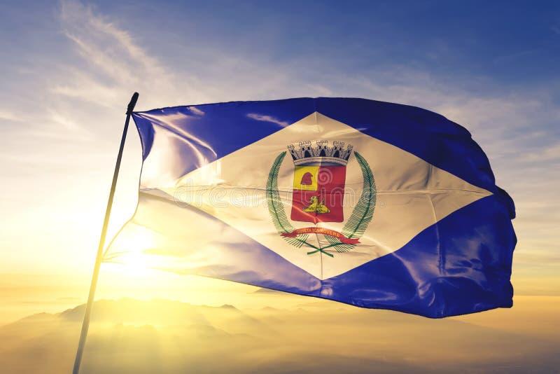 Rio Claro, Brazylijska flaga machająca na mgle wschód słońca fotografia royalty free