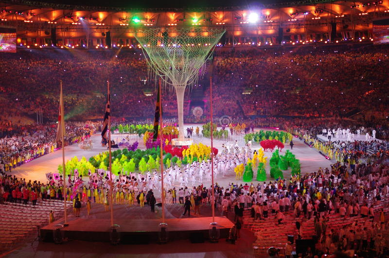 Rio2016 colosing ceremonies at Maracana Stadium. Maracana Stadium in Rio de Janeiro during closing ceremonies of Rio2016 Summer Olympic Games in Brazil. Photo royalty free stock images