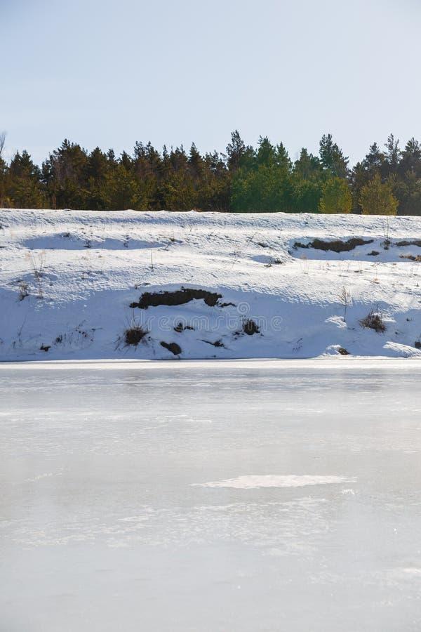 Rio congelado em um dia ensolarado Uma floresta cresce na costa foto de stock royalty free