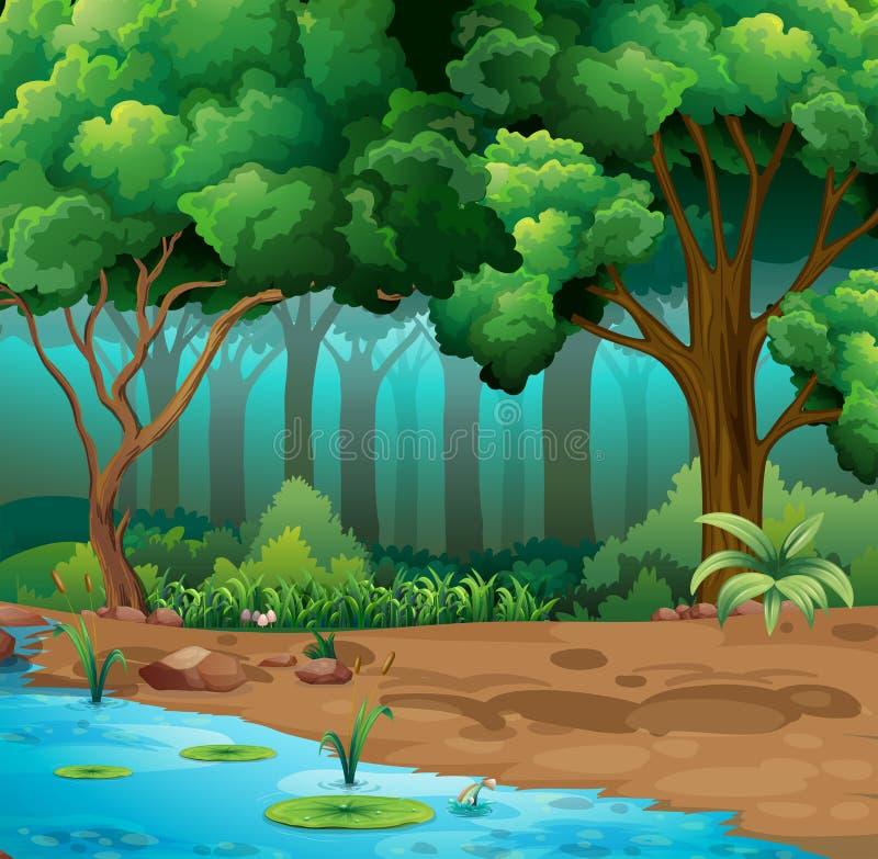 Rio corrido através da selva ilustração do vetor