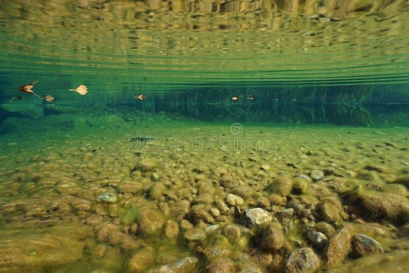 Rio da Espanha subaquático com os seixos no leito fluvial foto de stock