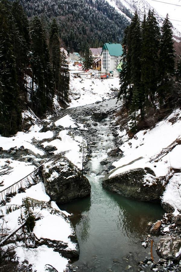 Rio da floresta da montanha no inverno fotos de stock