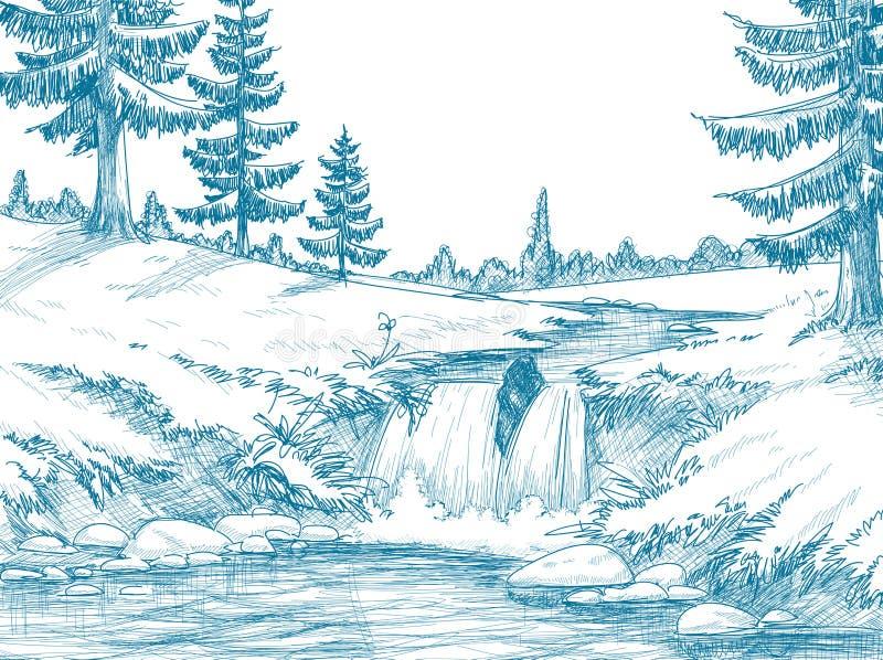 Rio da montanha ilustração do vetor