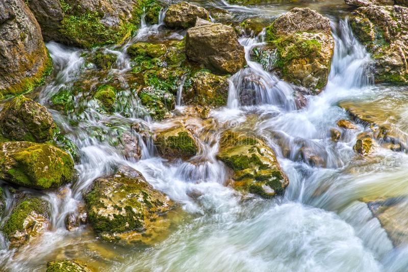 Rio da montanha de água da primavera no verão imagem de stock royalty free