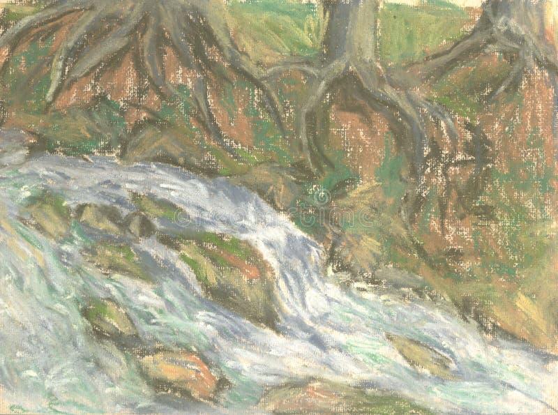 Rio da montanha entre as árvores, raizes da árvore ilustração stock