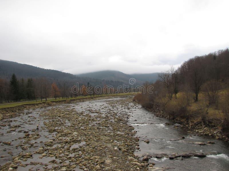 Rio da montanha no vale verde do outono foto de stock royalty free