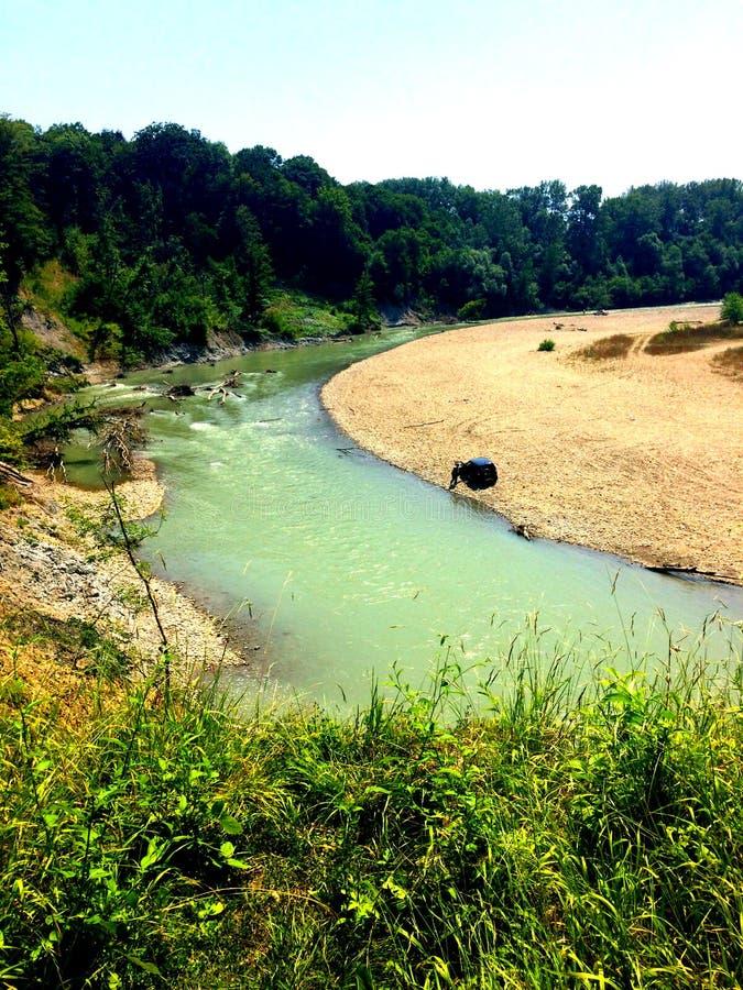 rio da montanha que flui na floresta, fotografia de stock