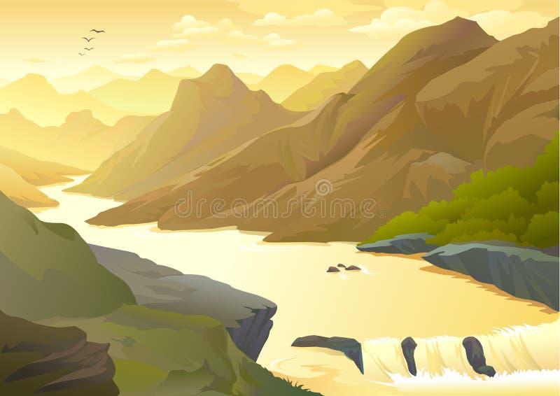 Rio da montanha que transforma em uma cachoeira ilustração stock