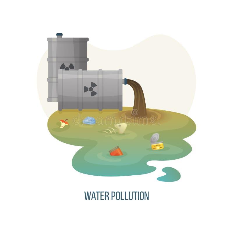 Rio da poluição de água com desperdício do esgoto e da sujeira ilustração do vetor