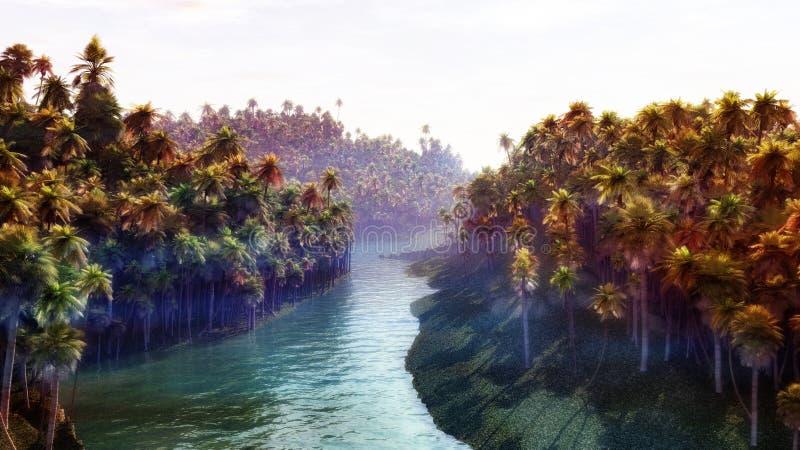 Rio da selva ilustração stock