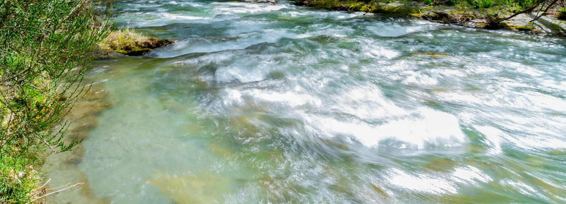 Rio da seta que corre através do desfiladeiro alinhado com árvores de folhas mortas fotografia de stock