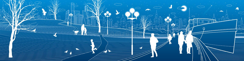 Rio da terraplenagem de Ity Caminhada dos povos ao longo do passeio Nivelando o parque iluminado As crianças estão jogando os pás ilustração do vetor