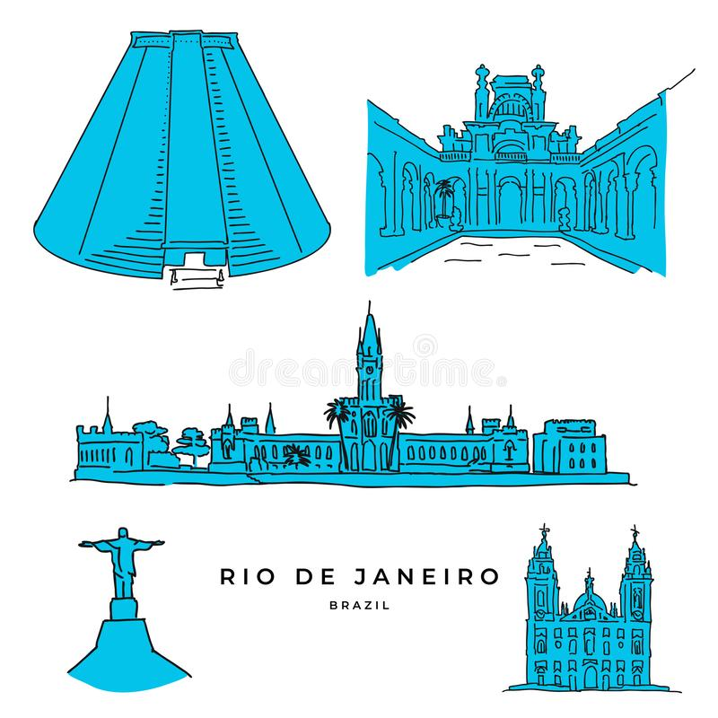 Rio de Janeiro architecture drawings royalty free illustration
