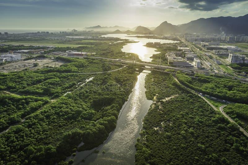 Rio de Janeiro, Barra da Tijuca aerial view with light leak royalty free stock images