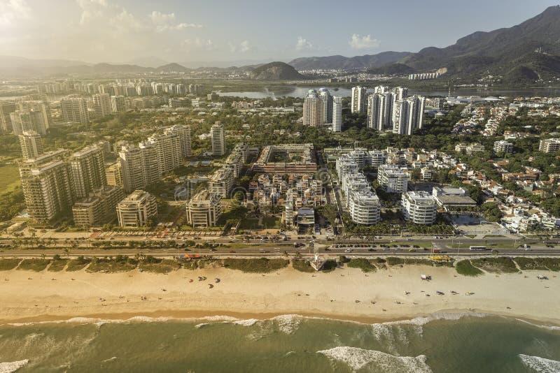 Rio de Janeiro, Barra da Tijuca beach with modern architecture stock images