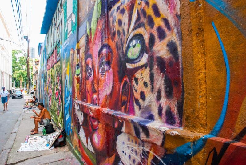 RIO DE JANEIRO, BRASIL: Grafittis bonitos na parede Pintado na fachada dos animais ilustração royalty free