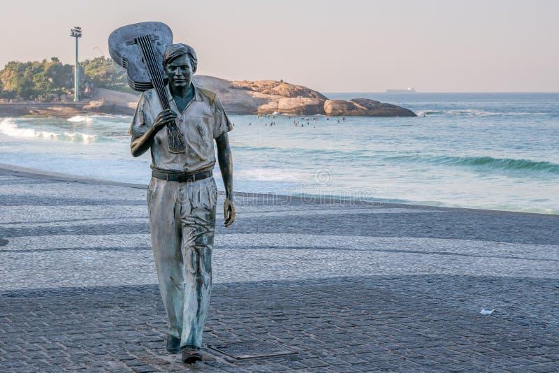 Tom Jobim Statue, Rio de Janeiro. Rio de Janeiro, Brasil - June 20, 2019: Tom Jobim, bossa nova composer, Statue at Ipanema Beach royalty free stock image