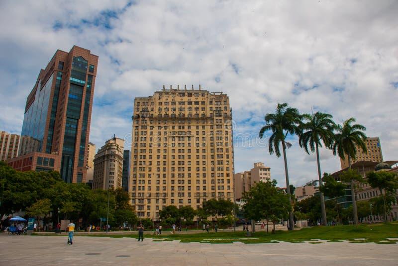 Rio de Janeiro Brasilien: Horisont i centrum av Rio de Janeiro royaltyfri bild