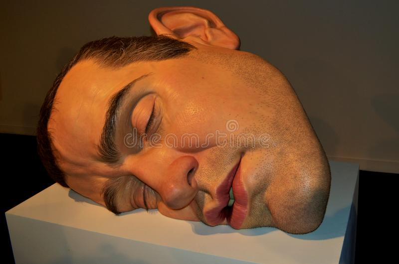 Rio de Janeiro Brasilien - mars 30, 2014: Maskering II, en skulptur av den australiska hyperrealist skulptören, Ron Mueck, på mus arkivbilder