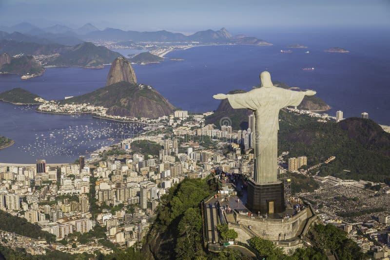 Rio de Janeiro, Brazil : Aerial view of Christ and Botafogo Bay. From high angle stock photos