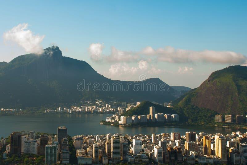 Rio de Janeiro, Brazil: Aerial view of Rio de Janeiro with Christ Redeemer royalty free stock photos