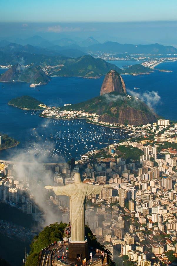 Rio de Janeiro, Brazil: Aerial view of Rio de Janeiro with Christ Redeemer and Corcovado Mountain stock images