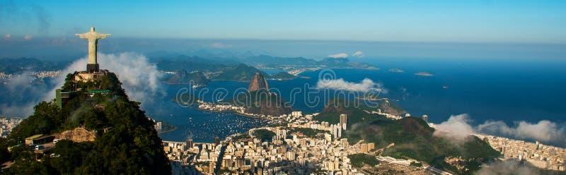 Rio de Janeiro, Brazil: Aerial view of Rio de Janeiro with Christ Redeemer and Corcovado Mountain. Beautiful top view royalty free stock photos