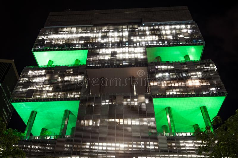 Petrobras Building in Rio de Janeiro at Night royalty free stock photography