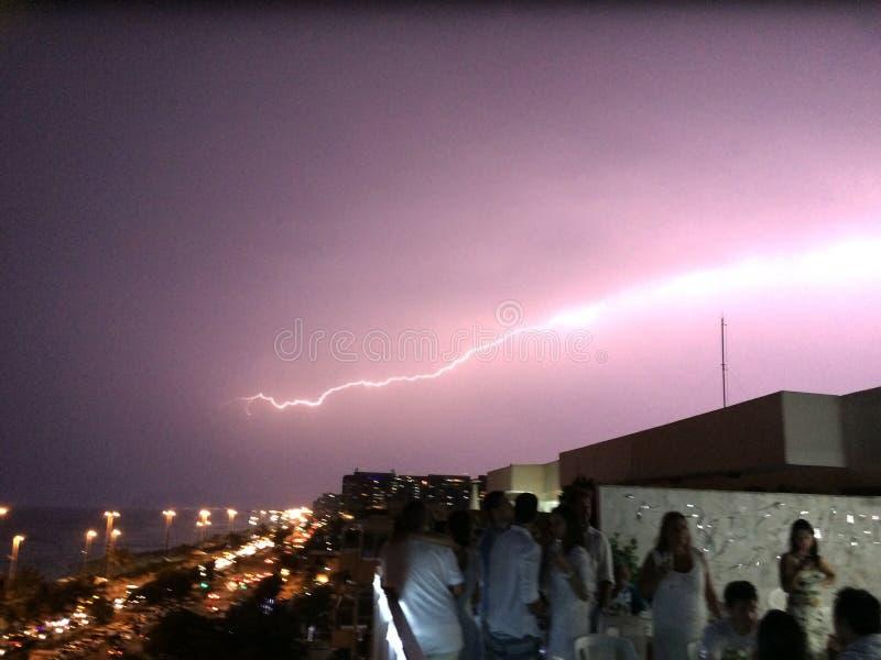 Lightning in Barra da Tijuca, west side of Rio de Janeiro royalty free stock photos