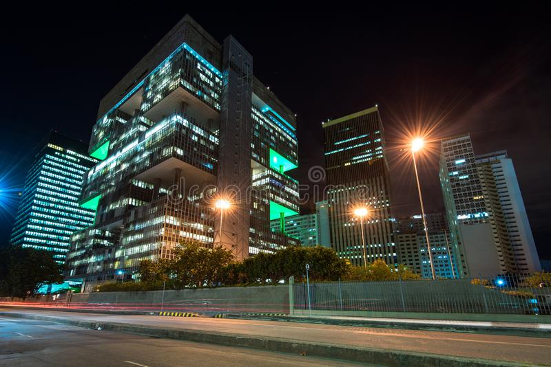 Petrobras Building in Downtown Rio de Janeiro at Night stock images
