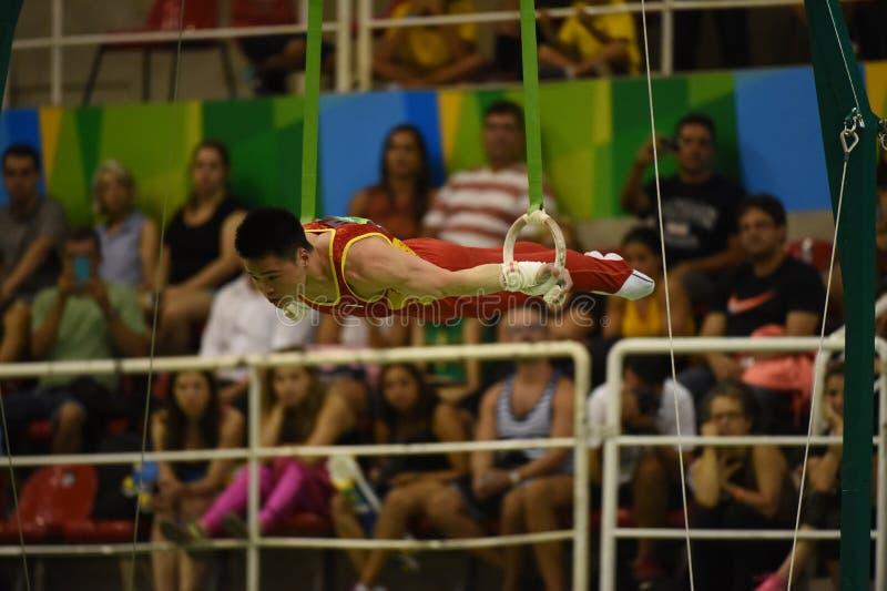 Athletes of artistic gymnastcs. Rio de Janeiro - Brazil, athletes of artistic gymnastics stock photos