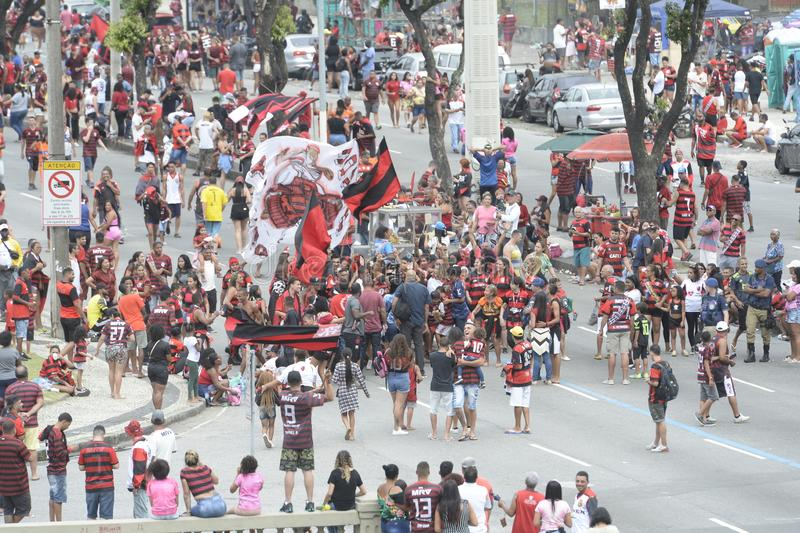 Flamengo fans awaiting team arrival in Rio de Janeiro city royalty free stock photo
