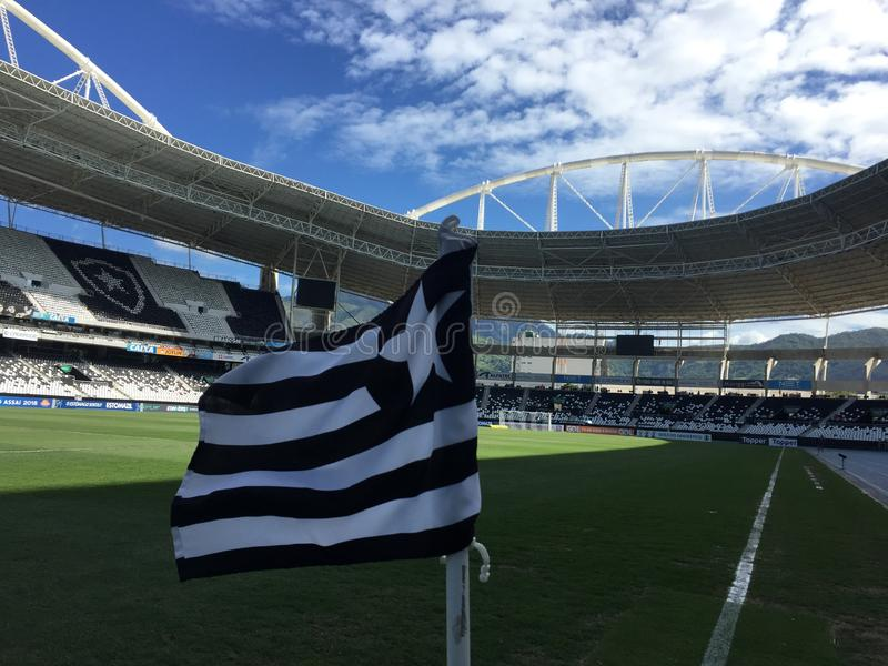 Flag of the Botafogo club. Rio de Janeiro - Brazil, December 7, 2018, flag of the Botafogo club on the edge of the lawn of the Nilton Santos stadiu stock images